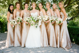 Wedding photo, bride, bridesmaids, white dress
